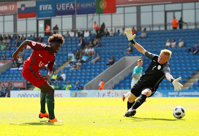 Soccer Football - UEFA European Under-17 Championship - Group B - Slovenia v Portugal - Proact Stadium, Chesterfield, Britain - May 7, 2018 Portugal's Felix Correia scores their first goal Action Images via Reuters/Jason Cairnduff