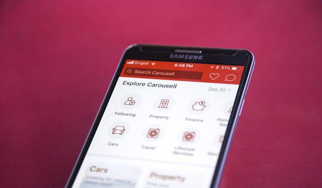 The Carousell application is displayed on a smartphone in an arranged photograph in Singapore, on Thursday, May 24, 2018. Photo: Bloomberg