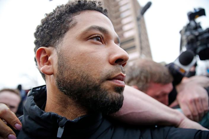 CHICAGO, ILLINOIS - FEBRUARY 21: Empire actor Jussie Smollett leaves Cook County jail after posting bond on February 21, 2019 in Chicago, Illinois. Smollett has been accused with arranging a homophobic, racist attack against himself in an attempt to raise his profile because he was dissatisfied with his salary. (Photo by Nuccio DiNuzzo/Getty Images) ORG XMIT: 775302581 ORIG FILE ID: 1126624293