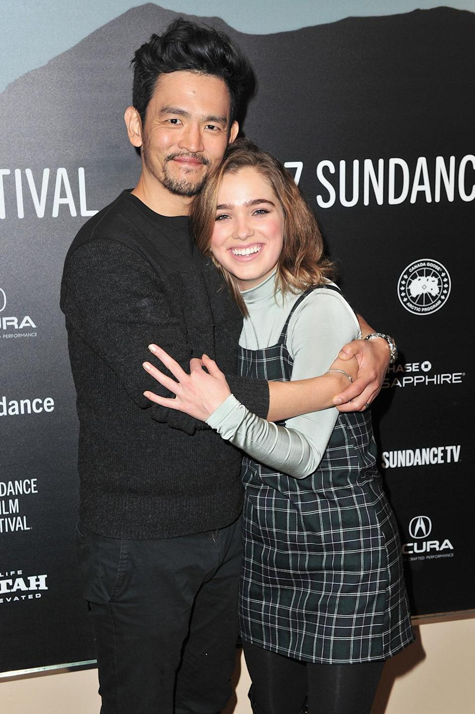 <p>The actors embrace before 'Columbus' screening. (Photo: Jerod Harris/Getty Images) </p>