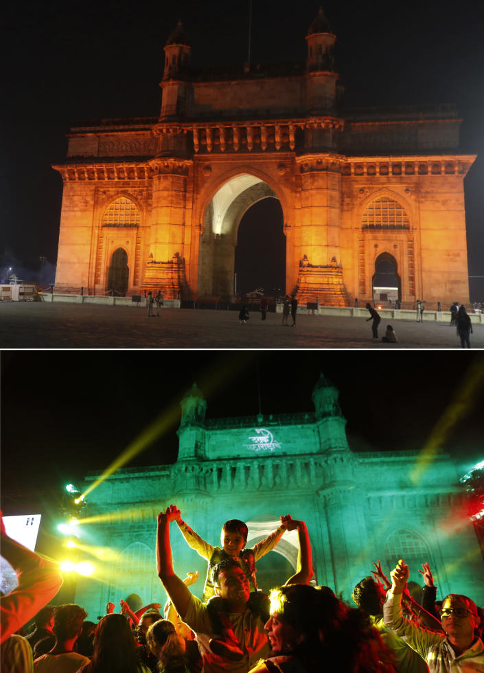 This combination photograph shows a handful of people in front of the iconic Gateway of India, top, a popular place to celebrate New Year's Eve in Mumbai, India, Thursday, Dec. 31, 2020, as compared to a file photograph of a crowd celebrating on Dec. 31, 2019. As the world says goodbye to 2020, there will be countdowns and live performances, but no massed jubilant crowds in traditional gathering spots like the Champs Elysees in Paris and New York City's Times Square this New Year's Eve. The virus that ruined 2020 has led to cancelations of most fireworks displays and public events in favor of made-for-TV-only moments in party spots like London and Rio de Janeiro. (AP Photo/Rafiq Maqbool, Rajanish Kakade)