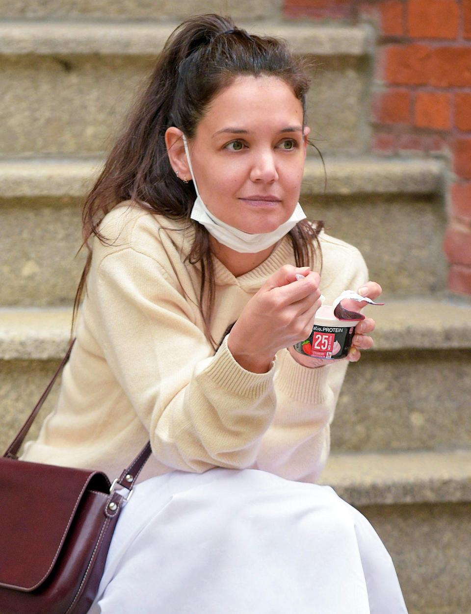 <p>Katie Holmes stops for a :ratio PROTEIN dairy snack in N.Y.C. on Monday while running errands. </p>