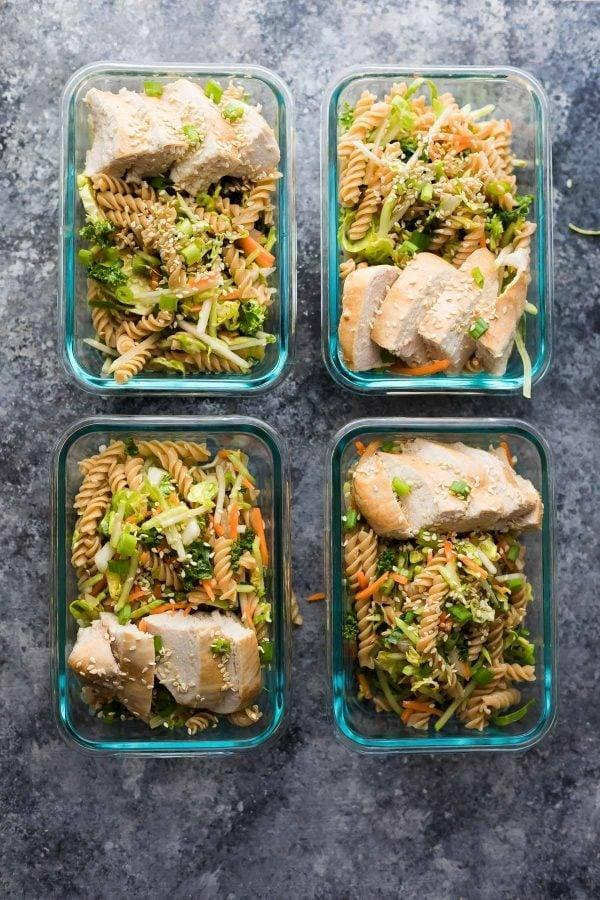 """<p>Pasta salad is often overlooked as a meal-prep option, but because it's served cold, it is actually a really solid choice. This Asian-inspired version makes four servings and will keep in the fridge for about four days.</p> <p><strong>Get the recipe:</strong> <a href=""""https://sweetpeasandsaffron.com/meal-prep-sesame-chicken-pasta-salad/"""" class=""""link rapid-noclick-resp"""" rel=""""nofollow noopener"""" target=""""_blank"""" data-ylk=""""slk:sesame chicken pasta salad"""">sesame chicken pasta salad</a></p>"""