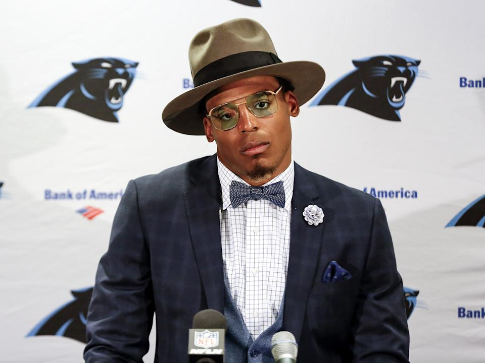 TAMPA, FL - OCTOBER 29: Quarterback Cam Newton #1 of the Carolina Panthers answers questions from the media at a press conference after the game against the Tampa Bay Buccaneers at Raymond James Stadium on October 29, 2017 in Tampa, Florida. Panthers defeated the Buccaneers 17 to 3. (Photo by Don Juan Moore/Getty Images)