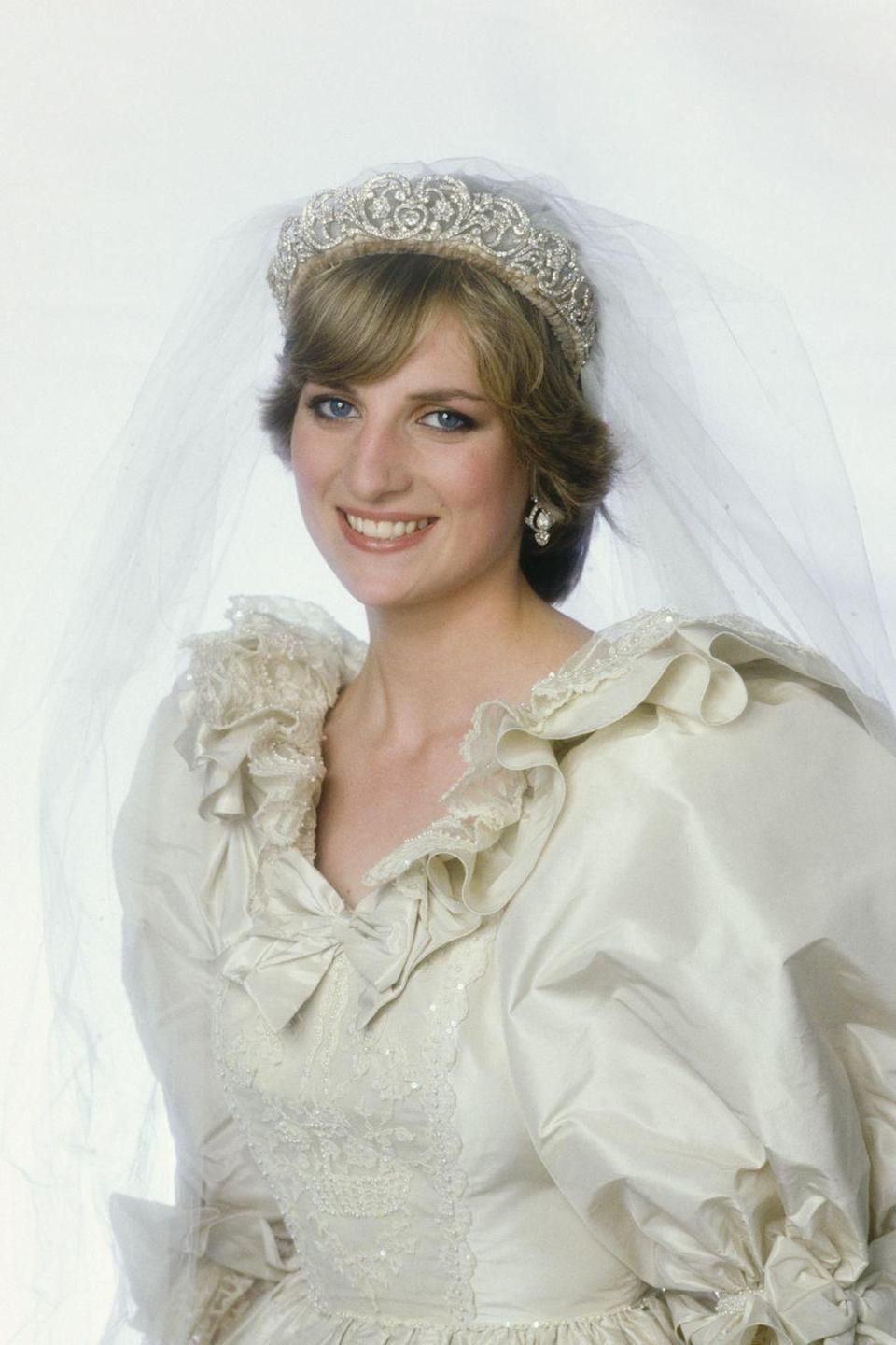 "<p><strong>Wedding date: </strong>July 29, 1981</p><p><strong>Wedding tiara: </strong><a href=""https://www.townandcountrymag.com/society/tradition/g10239753/princess-diana-life-in-pictures/"" rel=""nofollow noopener"" target=""_blank"" data-ylk=""slk:Princess Diana wore"" class=""link rapid-noclick-resp"">Princess Diana wore</a> her family tiara, the Spencer tiara, <a href=""https://www.townandcountrymag.com/the-scene/weddings/a18205641/princess-diana-prince-charles-wedding/"" rel=""nofollow noopener"" target=""_blank"" data-ylk=""slk:when she married Prince Charles"" class=""link rapid-noclick-resp"">when she married Prince Charles</a>. A combination of many pieces of jewelry, the center of the tiara was a gift from Lady Sarah Spencer to Cynthia Spencer, Countess Spencer on her wedding day in 1919. It was remounted with new elements made by Garrard in 1937. <a href=""https://www.townandcountrymag.com/society/tradition/a12138504/princess-diana-sisters-lady-sarah-mccorquodale-jane-fellowes/"" rel=""nofollow noopener"" target=""_blank"" data-ylk=""slk:Diana's sisters, Lady Sarah and Jane,"" class=""link rapid-noclick-resp"">Diana's sisters, Lady Sarah and Jane,</a> also wore the tiara on their wedding days, as did Victoria Lockwood, who married Diana's brother Charles in 1989, <a href=""http://people.com/royals/princess-dianas-spencer-tiara-history-and-photos/"" rel=""nofollow noopener"" target=""_blank"" data-ylk=""slk:People reports."" class=""link rapid-noclick-resp""><em>People</em> reports.</a><br></p>"