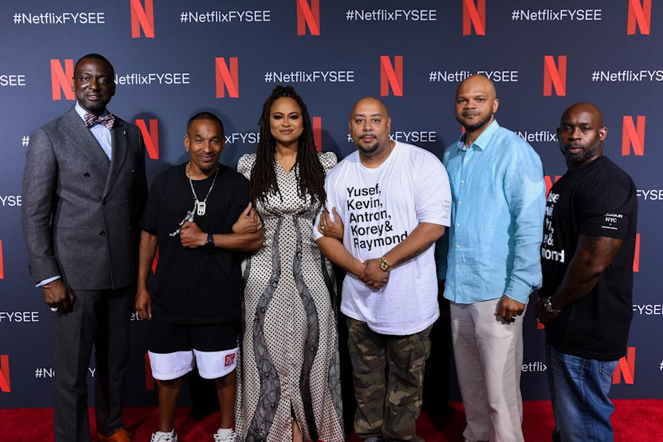 """LOS ANGELES, CALIFORNIA - JUNE 09: Yusef Salaam, Korey Wise, Ava DuVernay, Raymond Santana, Kevin Richardson and Antron McCay attend Netflix'x FYSEE event for """"When They See Us"""" at Netflix FYSEE At Raleigh Studios on June 09, 2019 in Los Angeles, California. (Photo by Presley Ann/Getty Images)"""