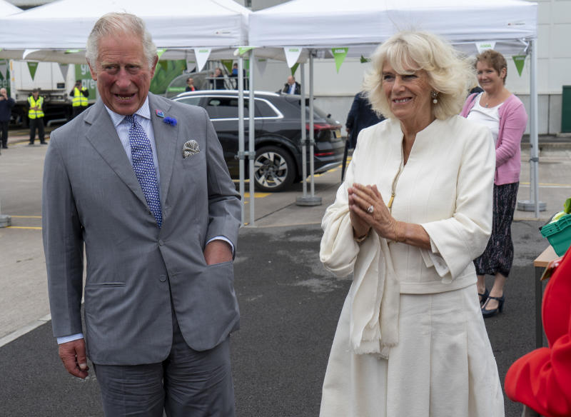 Britain's Prince Charles, Prince of Wales and Britain's Camilla, Duchess of Cornwall visit an Asda distribution centre to thank staff for their work during the coronavirus pandemic in Bristol, southwest England on July 9, 2020. (Photo by ARTHUR EDWARDS / POOL / AFP) (Photo by ARTHUR EDWARDS/POOL/AFP via Getty Images)
