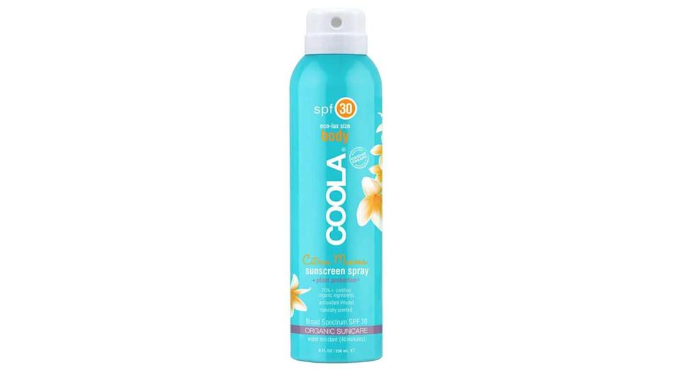 """<p>Wear perfume in the hot sun and you're heading for a heatrash. Protect your skin and smell delectable in one spritz with Coola Eco-Lux SPF 30 Citrus Mimosa Sunscreen Spray, £32 from <a rel=""""nofollow noopener"""" href=""""https://www.cultbeauty.co.uk/coola-eco-lux-spf-30-citrus-mimosa-sunscreen-spray.html"""" target=""""_blank"""" data-ylk=""""slk:cultbeauty.co.uk"""" class=""""link rapid-noclick-resp"""">cultbeauty.co.uk</a> </p>"""