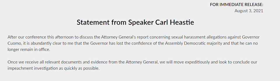 """<div class=""""paragraphs""""><p>Official statement by Speaker Carl New York Assembly Heastie.</p></div>"""