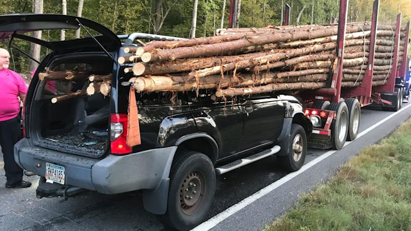 The logs managed to reach the car's back window