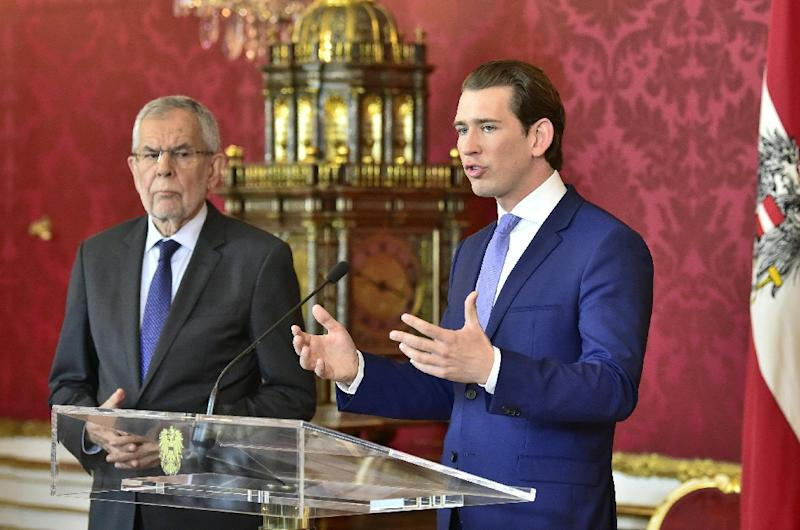 "Austrian Chancellor Sebastian Kurz (R), seen here with President Alexander Van der Bellen, said ""enough was enough"" after the video sting scandal broke (AFP Photo/HANS PUNZ)"