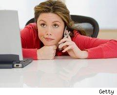 Dissatisfied woman on mobile phone