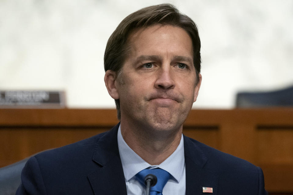 FILE - In this Oct. 14, 2020, file photo Sen. Ben Sasse, R-Neb., questions Supreme Court nominee Amy Coney Barrett during the third day of her confirmation hearings before the Senate Judiciary Committee on Capitol Hill in Washington. (Stefani Reynolds/Pool via AP, File)