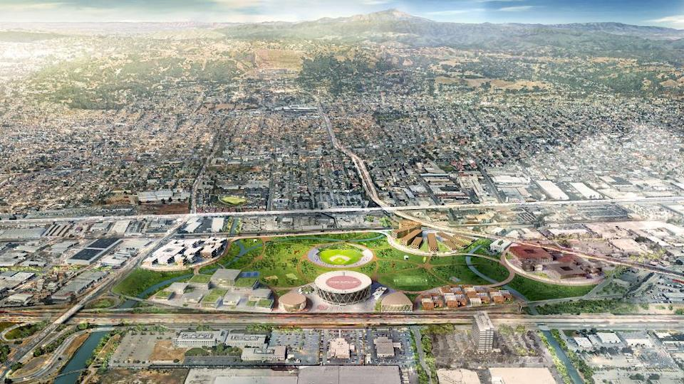 An aerial view of development around the old Oakland Coliseum space. (Athletics)