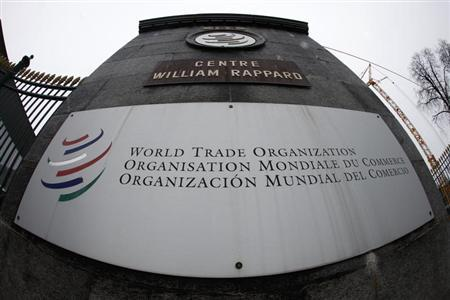 The World Trade Organization WTO logo is seen at the entrance of the WTO headquarters in Geneva