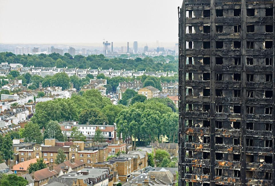 The charred remains of the burnt-out shell of the Grenfell Tower block in north Kensington: AFP/Getty