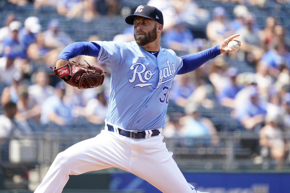 Kansas City Royals starting pitcher Danny Duffy throws in the first inning during a baseball game against the Minnesota Twins, Saturday July 3, 2021, in Kansas City, Mo. (AP Photo/Ed Zurga)