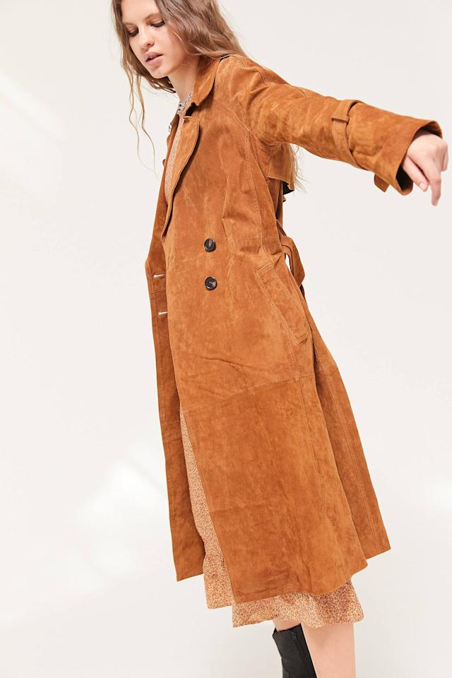 "<p>This <a href=""https://www.popsugar.com/buy/Avec-Les-Filles-Genuine-Suede-Trench-Coat-508571?p_name=Avec%20Les%20Filles%20Genuine%20Suede%20Trench%20Coat&retailer=urbanoutfitters.com&pid=508571&price=499&evar1=fab%3Aus&evar9=45175105&evar98=https%3A%2F%2Fwww.popsugar.com%2Ffashion%2Fphoto-gallery%2F45175105%2Fimage%2F45175112%2FAvec-Les-Filles-Genuine-Suede-Trench-Coat&list1=shopping%2Cnordstrom%2Cfall%20fashion%2Ctrends%2Ccoats%2Cfall%2Ctrench%20coats&prop13=mobile&pdata=1"" rel=""nofollow"" data-shoppable-link=""1"" target=""_blank"" class=""ga-track"" data-ga-category=""Related"" data-ga-label=""https://www.urbanoutfitters.com/shop/avec-les-filles-genuine-suede-trench-coat2?category=SEARCHRESULTS&amp;color=020"" data-ga-action=""In-Line Links"">Avec Les Filles Genuine Suede Trench Coat</a> ($499) looks so chic and luxurious, but we also love it dressed down with jeans.</p>"