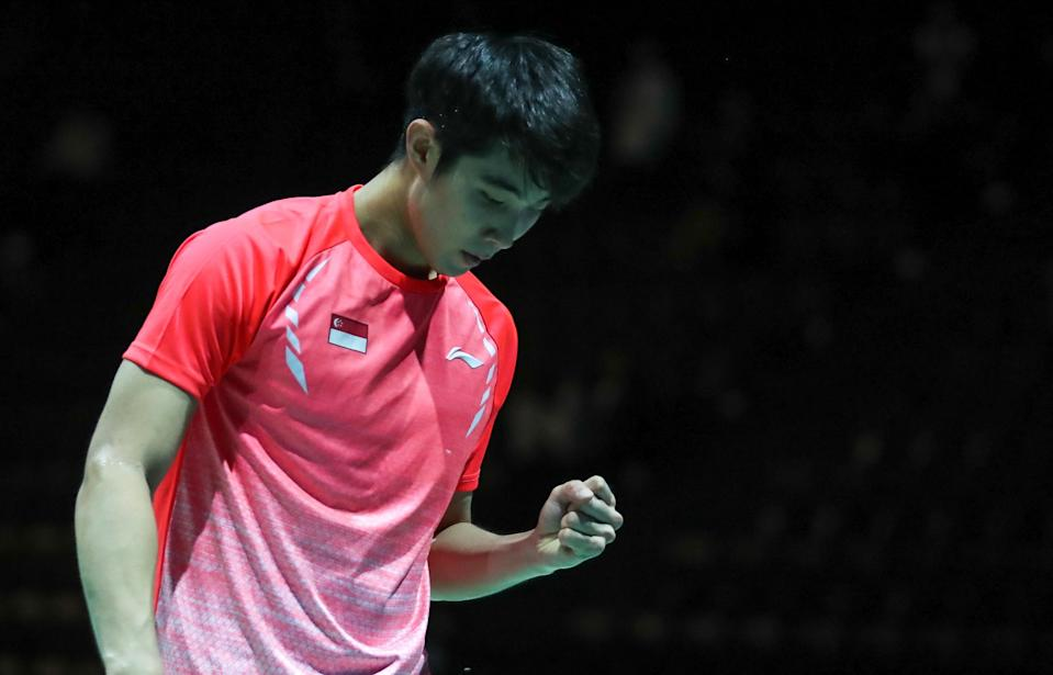 Singapore shuttler Loh Kean Yew celebrates winning a point against France's Thomas Rouxel at the Badminton World Championships. (PHOTO: BadmintonPhoto)