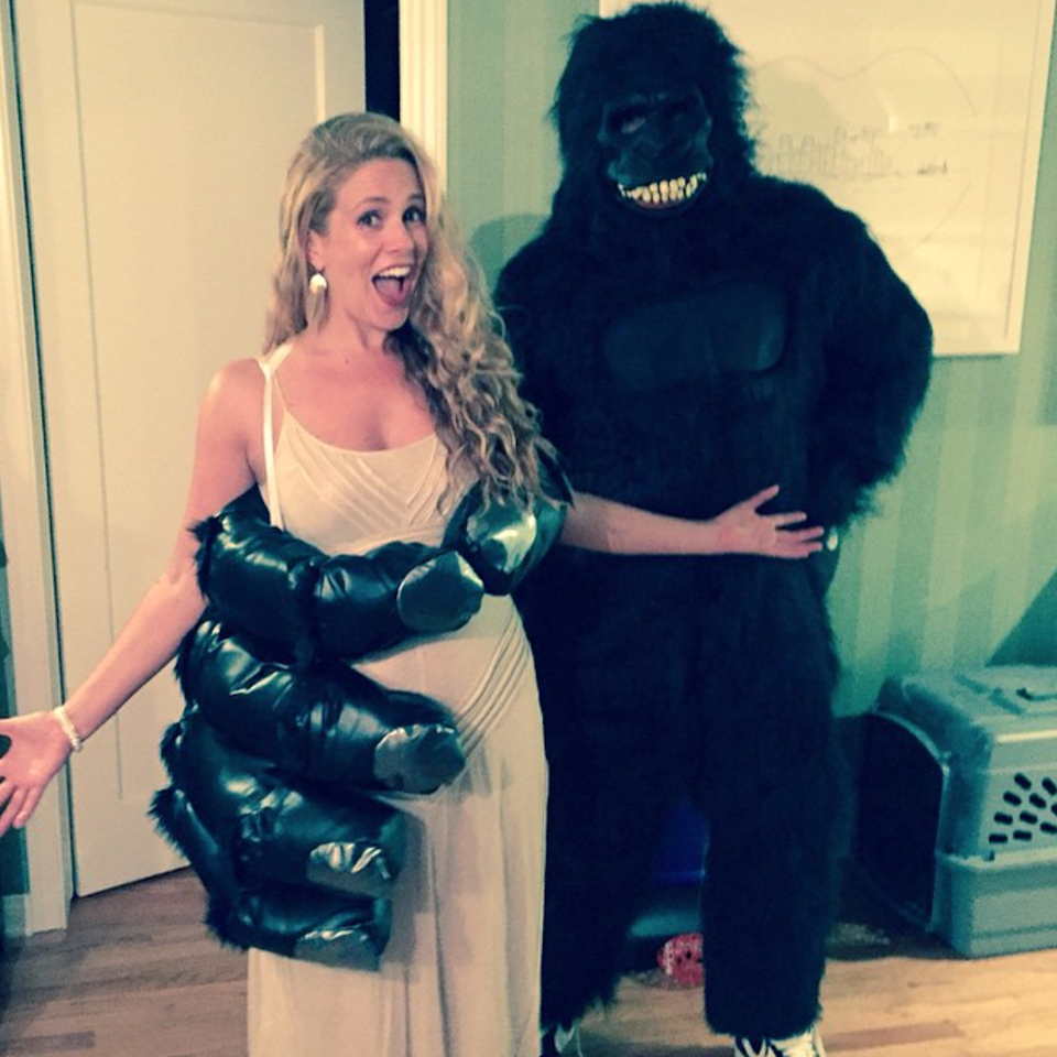 <p>Cacee Cobb and her husband Donald Faison turned to the movies for their couples costume inspo, dressing up as King Kong and his damsel in distress, Ann Darrow. The best part about this get-up is it requires minimal work to be Darrow—all you need is a white gown.</p>