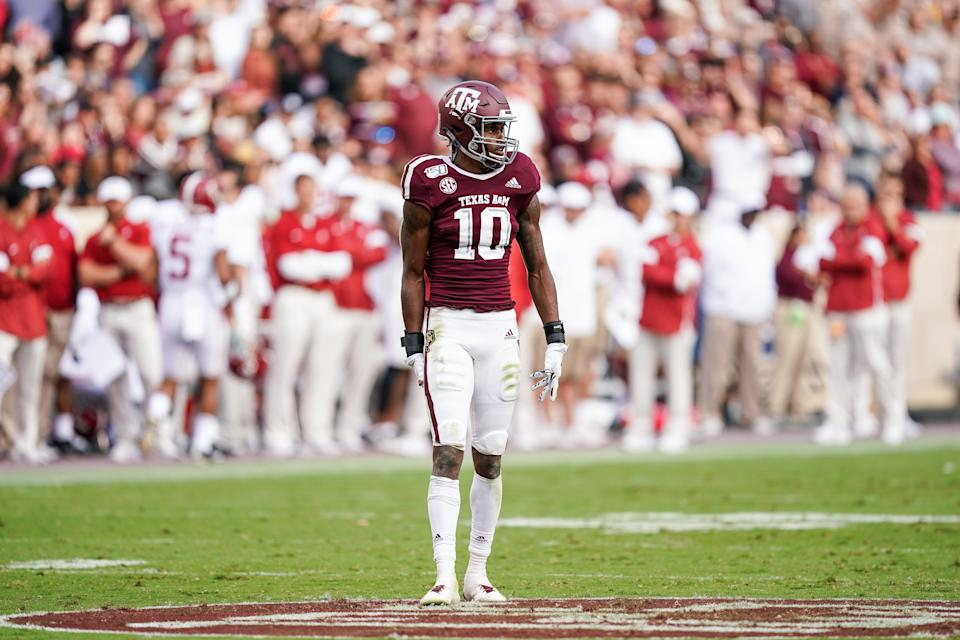 Texas A&M cornerback Myles Jones has length and playmaking ability that could appeal to the Jets. (Photo by Daniel Dunn/Icon Sportswire via Getty Images)
