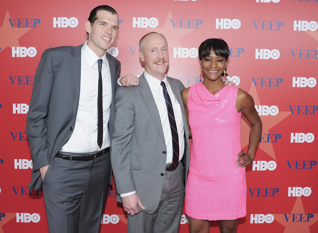 "NEW YORK, NY - APRIL 10:  (L-R) Actors Timothy C. Simons, Matt Walsh and Sufe Bradshaw attend the ""Veep"" screening at the Time Warner Screening Room on April 10, 2012 in New York City.  (Photo by Michael Loccisano/Getty Images)"