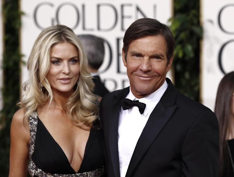 """FILE - In this Jan. 16, 2011 file photo, actor Dennis Quaid and his wife Kimberly Buffington Quaid arrive for the Golden Globe Awards in Beverly Hills, Calif. Quaid's third wife has filed for divorce, saying the couple's seven-year marriage has """"become insupportable because of discord or conflict of personalities."""" The divorce papers filed March 2, 2012, were first reported Friday by celebrity website TMZ.  The couple has twins Zoe and Thomas, born in 2007. Quaid previously married and divorced actresses P. J. Soles and Meg Ryan. (AP Photo/Matt Sayles, file)"""