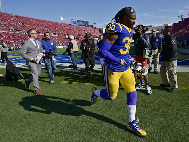 "Todd Gurley runs off the field following the Rams' season finale against the Arizona Cardinals on Dec. 29, 2019 at the Coliseum. <span class=""copyright"">(John McCoy / Getty Images)</span>"
