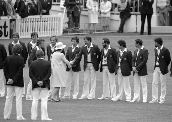 LONDON - JULY 3: HM The Queen meets Dennis Lillee, 2nd Test England v Australia Lord's July 1981 (Photo by Patrick Eagar/Patrick Eagar Collection via Getty Images)