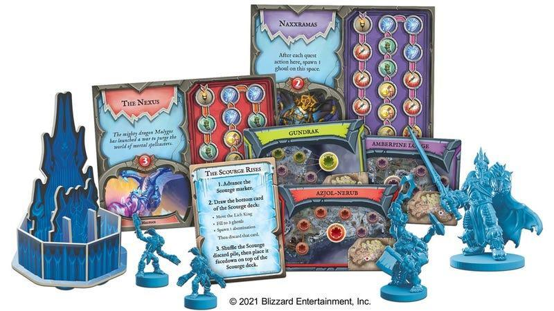 Game pieces and colorful cards from the upcoming Wrath of the Lich King Pandemic board game.