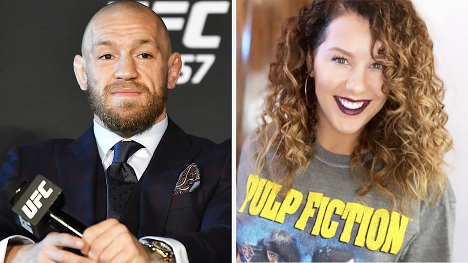 Conor McGregor and Julie Poirier, wife of UFC fighter Dustin Poirier, shared a kind moment after McGregor's UFC 257 loss to Poirier. Pictures: Getty Images/Instagram