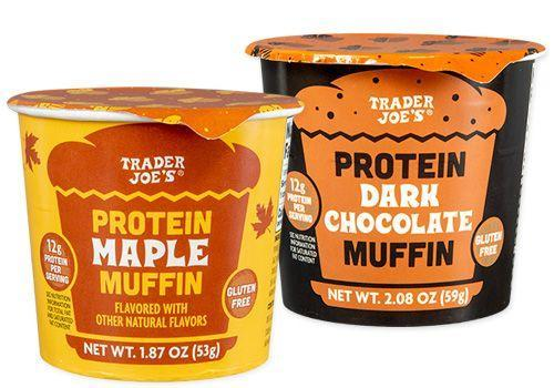 """<p>Muffins are not the picture of health, but """"protein"""" is a magical word here that makes these seem much better. """"While these beauties sound and taste like the most delicious seasonal treat, the dark chocolate muffin contains 13g of added sugars (totaling 26% of your recommended daily amount) and the maple version contains 14%,"""" holistic nutritionist <a href=""""https://www.jessicagroff.com/"""" rel=""""nofollow noopener"""" target=""""_blank"""" data-ylk=""""slk:Jessica Groff"""" class=""""link rapid-noclick-resp"""">Jessica Groff</a>, M.S., M.Ed, tells Delish. """"And they both contain around 15% of your recommended daily amount of salt! Homemade overnight oats is a much better option."""" </p>"""