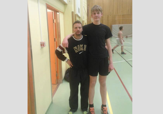 In  2014, Tryggvi Hlinason poses with coach Ágúst Guðmundsson soon after playing competitive basketball for the first time. (photo via Bjarki Ármann Oddsson)