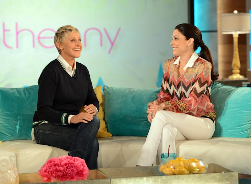 """In this Thursday June 7, 2012 photo released by Warner Bros., talk show host, Bethenny Frankel, right, welcomes fellow talk show host, Ellen DeGeneres during a taping of """"bethenny"""" in Burbank, Calif. Frankel's new talk show will premiere on Monday, June 11 on select FOX-owned stations. The segment with DeGeneres will air on Tuesday. (AP Photo/Warner Bros., Mark Davis)"""