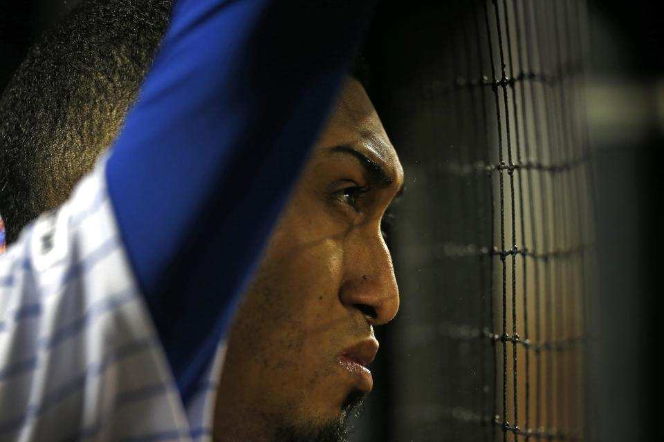 May 1, 2019; New York City, NY, USA; New York Mets relief pitcher Edwin Diaz (39) looks on from the dugout after a giving up a home run in the ninth inning against the Cincinnati Reds at Citi Field. Mandatory Credit: Noah K. Murray-USA TODAY Sports
