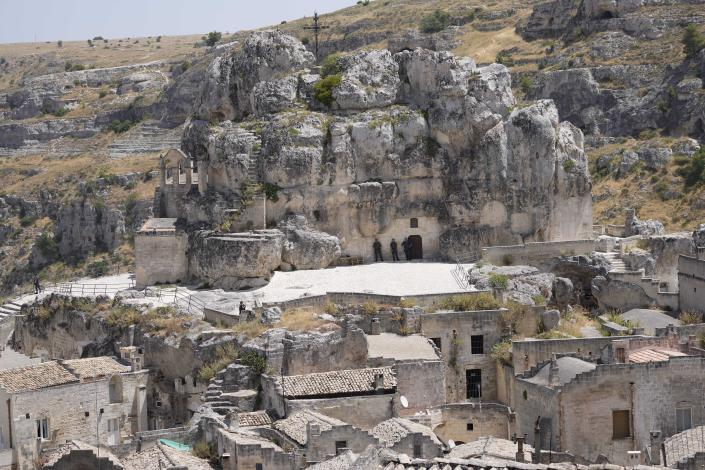 A view of Matera, Italy, where a G20 foreign affairs ministers' meeting is taking place Tuesday, June 29, 2021.(AP Photo/Antonio Calanni)
