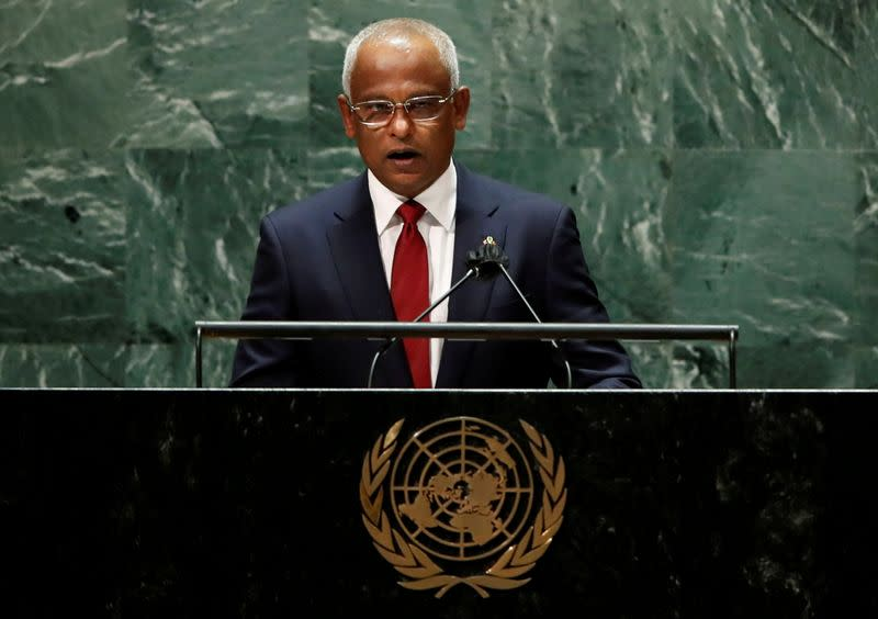 FILE PHOTO: Maldives' President Ibrahim Mohamed Solih addresses the 76th Session of the U.N. General Assembly in New York City
