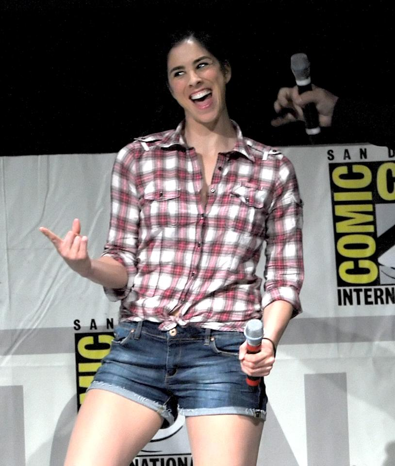 """SAN DIEGO, CA - JULY 12:  Actress Sarah Silverman speaks at the """"Wreck-It Ralph"""" panel during Comic-Con International 2012 at San Diego Convention Center on July 12, 2012 in San Diego, California.  (Photo by Kevin Winter/Getty Images)"""