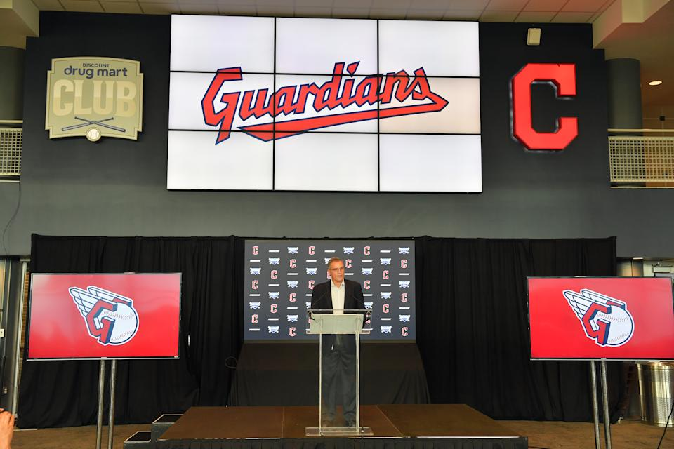 CLEVELAND, OHIO - JULY 23: Cleveland Indians president of business operations Brian Barren talks to members of the media during a press conference announcing the name change from the Cleveland Indians to the Cleveland Guardians at Progressive Field on July 23, 2021 in Cleveland, Ohio. (Photo by Jason Miller/Getty Images)