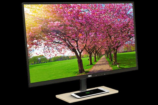 aoc p vc display desktop qi wireless charging included monitor