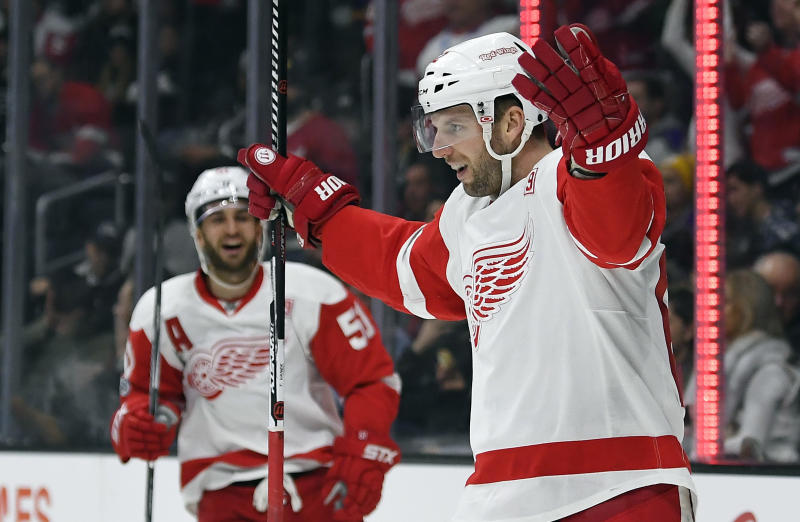 FILE - In this Jan. 5, 2017, file photo, Detroit Red Wings left wing Thomas Vanek, right, of Austria, celebrates his goal during the first period of an NHL hockey game against the Los Angeles Kings in Los Angeles. The struggling Red Wings dealt Vanek to the Florida Panthers on Wednesday, March 1, 2017. (AP Photo/Mark J. Terrill, File)