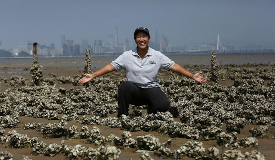 Joe Cheung Ho-yi, conservation education manager at The Nature Conservancy, pictured in Pak Nai, says oyster reefs are key to minimising the impact of storms in Hong Kong. Photo: Jonathan Wong