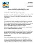 NGEx Minerals Increases Private Placement to C$25 Million (CNW Group/NGEx Minerals Ltd.)