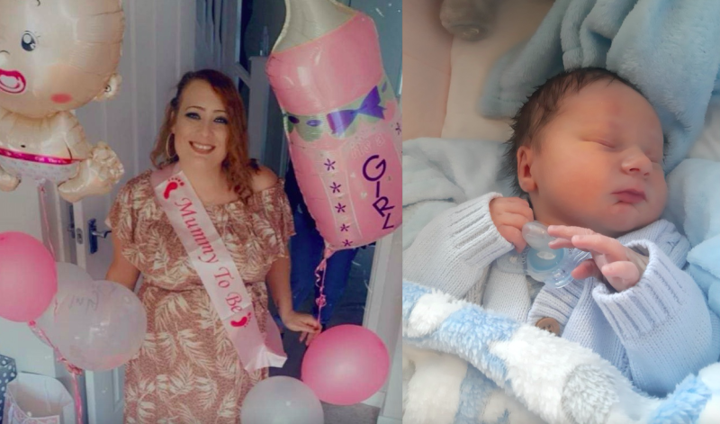 Hayley Sexton had been told twice she was expecting a baby girl, only to give birth to a boy. (Hayley Sexton/SWNS)