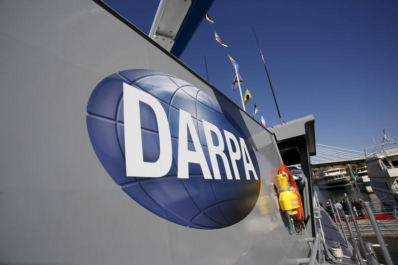 "The autonomous ship ""Sea Hunter"", developed by DARPA, is shown docked in Portland, Oregon after its christening ceremony"