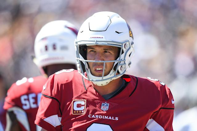 Cardinals quarterback Sam Bradford, who was the starting quarterback to begin the season, is now No. 3 on the team's depth chart — and will lose $300,000 on Sunday. (Getty Images)