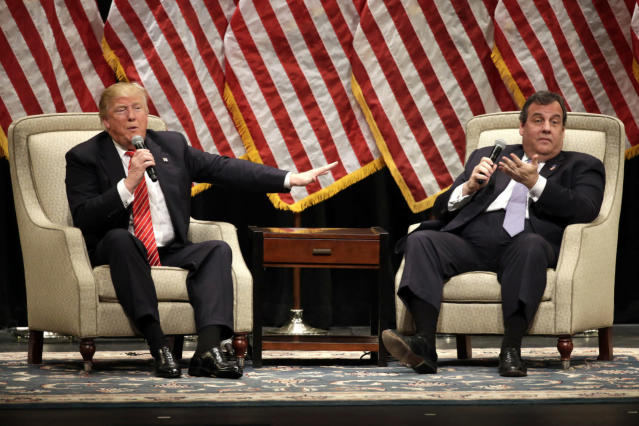 <p>Trump and New Jersey Gov. Chris Christie at a rally at Lenoir-Rhyne University in Hickory, N.C., March 14, 2016.<i> (Photo: Chuck Burton/AP)</i> </p>