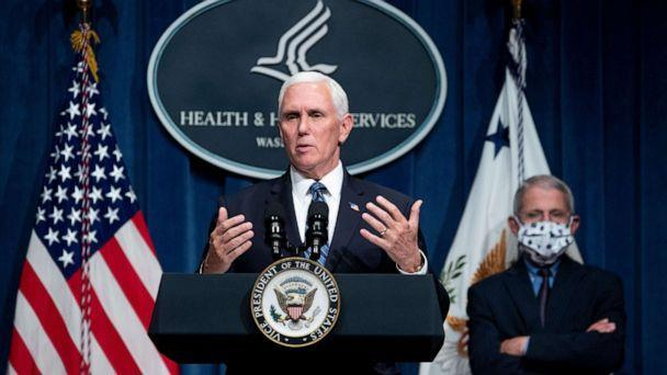 Vice President Mike Pence participates in a White House Coronavirus Task Force briefing as National Institute of Allergy and Infectious Diseases Director Anthony Fauci looks on at the Department of Health and Human Services in Washington, June 26, 2020. (Michael Reynolds/EPA via Shutterstock)