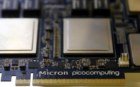 FILE PHOTO: Memory chip parts of U.S. memory chip maker MicronTechnology are pictured at their fair booth at an industrial fair in Frankfurt