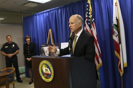 California Governor Jerry Brown speaks during a news conference in San Francisco